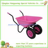 Wheelbarrow plástico da roda gêmea com cubeta cor-de-rosa
