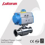 Válvula de esfera sanitário/do produto comestível com atuador pneumático