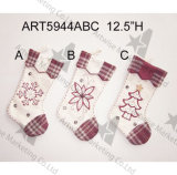 "12.5 "" H Patchwork+Handstitched Stocking-3asst. - Décoration de Noël"