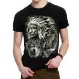 T-shirt chaud d'impression du noir 3D de vente