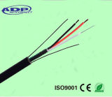 6 12 24 cables ópticos de la fibra impermeable central del tubo de la base y con el alambre de la potencia