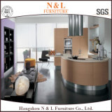 Hölzerner Furnier-Blattküche-Schrank mit Möbel-Entwurf