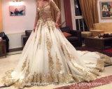 O vestido 2017 nupcial do laço do ouro Sleeves o vestido de casamento árabe W15224