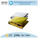Cobertor térmico da emergência médica do ouro da prata da folha do uso dos primeiros socorros