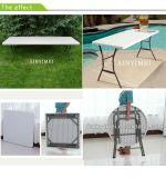Mesas y sillas de plástico plegables al aire libre