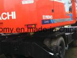 使用された0.6cbm/16tonは6cylinders Isuzuエンジン油圧ポンプ日立Ex160wdタイヤの掘削機を日本作る