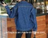 숙녀의 박쥐 소매를 가진 우연한 데님 재킷의 대량 생산