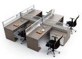 オーバーヘッドファイリングキャビネット(SZ-WS617)が付いている現代Kdのオフィス4人ワークステーション