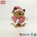 Brinquedo minúsculo macio vestido alces do presente do luxuoso do urso do boneco de neve do Xmas