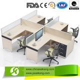 원형 목제 사무실 책상 사무실 책상 세트, 4명의 사람 사무실 책상