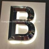 チェーン・ストアのバックライトを当てられた金属LEDの経路識別文字の印
