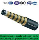 Pression superbe, boyau hydraulique renforcé spiralé du fil d'acier quatre (ajustage de précision de pipe SAE100r13)