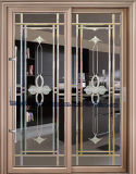 芸術ガラスが付いている贅沢な内部アルミニウムフレームの引き戸
