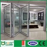 Porta de dobradura de alumínio do Bi do frame com vitrificação de Pnoc0014bfd