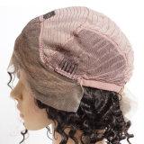 130% Densidad Virgen de pelo brasileño de encaje frente peluca / corto Glueless lleno de encaje de pelo humano onda profunda rizado pelucas para las mujeres negras