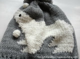 Kinder Bear Animal Knitted Winter Sliver Lurex Hat und Gloves Set (HQK16009)
