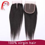 Chiusura brasiliana umana dei capelli di Remy del Virgin 13*4