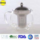 Jogo de chá do aço inoxidável do filtro e do punho e do vidro de Borosilicate com projeto da forma