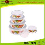 Plastic Lidの5PCS Set Cast Iron Enamel Bowl
