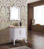 Pavimento Standing Antique Solid Wood Bathroom Vanity con Mirror