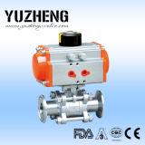 Fabricante de tres vías sanitario de la vávula de bola de Yuzheng