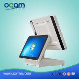 """(POS8619D) """" pantalla dual toda de la visualización del LCD del monitor de la pantalla táctil 15 en una terminal de la posición de la PC"""