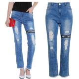 Кальсоны джинсовой ткани простирания хлопка голубых джинсов способа повелительниц OEM