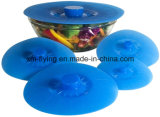Conjunto de 5 FDA resistente al calor de silicona estándar de succión Bowl, Pan, envase tapas