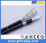 Câble RG6 coaxial de liaison combiné par câble de la communication réseau UTP Cat5e