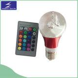 Luz de bulbo cristalina de E27 3W RGB LED con el telecontrol