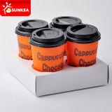 Porteur imprimé de café blanc de papier de 4 tasses