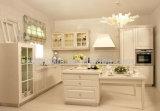 現代デザインPVC食器棚のビニールの覆いの台所家具