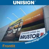 기치를 광고하는 Unisign 최고 매끄러운 최신 박판으로 만들어진 Frontlit