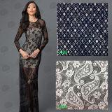 Laço feito malha do algodão da forma Crochet africano para vestuários/tela do laço/laço do bordado
