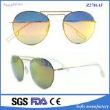 Frauen-Form Doppel-Träger klassische Metallrahmen-Spiegel-Sonnenbrillen