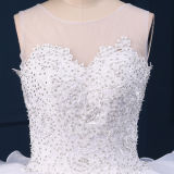 Gorgeous Crystal Lace Ruffles Organza Ball Gown Wedding Dresses (TM-BG050)