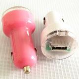 USB 차 충전기 5V 이동 전화를 위한 1A에 의하여 착색되는 소형 1마리의 차 충전기