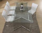 A tabela de jantar luxuosa do vidro Tempered de tabela de jantar de Seater da mobília 8 ajustou-se (NK-DTB011)