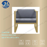 Navy Blue Stripes Hight Elasticity Spongy Cushion Gold Chair