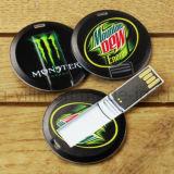 Mini disco de la impulsión U de la pluma de la impulsión del flash del USB de la tarjeta redonda de encargo de la insignia