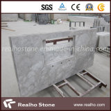 中国のAlpine White Marble CountertopかKitchenのためのBlankまたは島Top