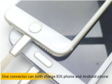 Samsung Apple iPhone를 위한 편평한 2in1 마이크로 USB Sync 데이터 비용을 부과 케이블