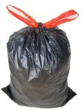 Großes schwarzes HDPE Plastikdrawstring-Abfall-Beutel