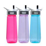 la plastica 650ML mette in mostra la bottiglia con paglia, la bottiglia di acqua Joyshaker con paglia, bottiglia di acqua di plastica di Joyshaker con paglia