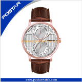 De multifunctionele Dubbele Tijd let op de Grote Uitstekende kwaliteit van het Horloge van het Gezicht met de Band van het Leer