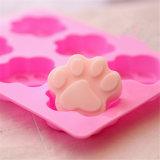 Moldes do sabão do silicone da cor-de-rosa da forma das patas do gato das pilhas Sy03-04-007 6