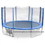 Round Trampoline with Ladder and Outer Safety Net