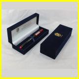 Rectángulo de regalo rectangular azul largo del terciopelo para los bolígrafos
