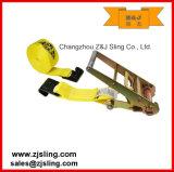 """3 de """" amarelo X 20 ' com a carga lisa dos ganchos que chicoteia a cinta da catraca"""