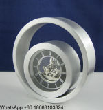 Horloge de bureau de petit cercle en métal, horloge en métal de cercle